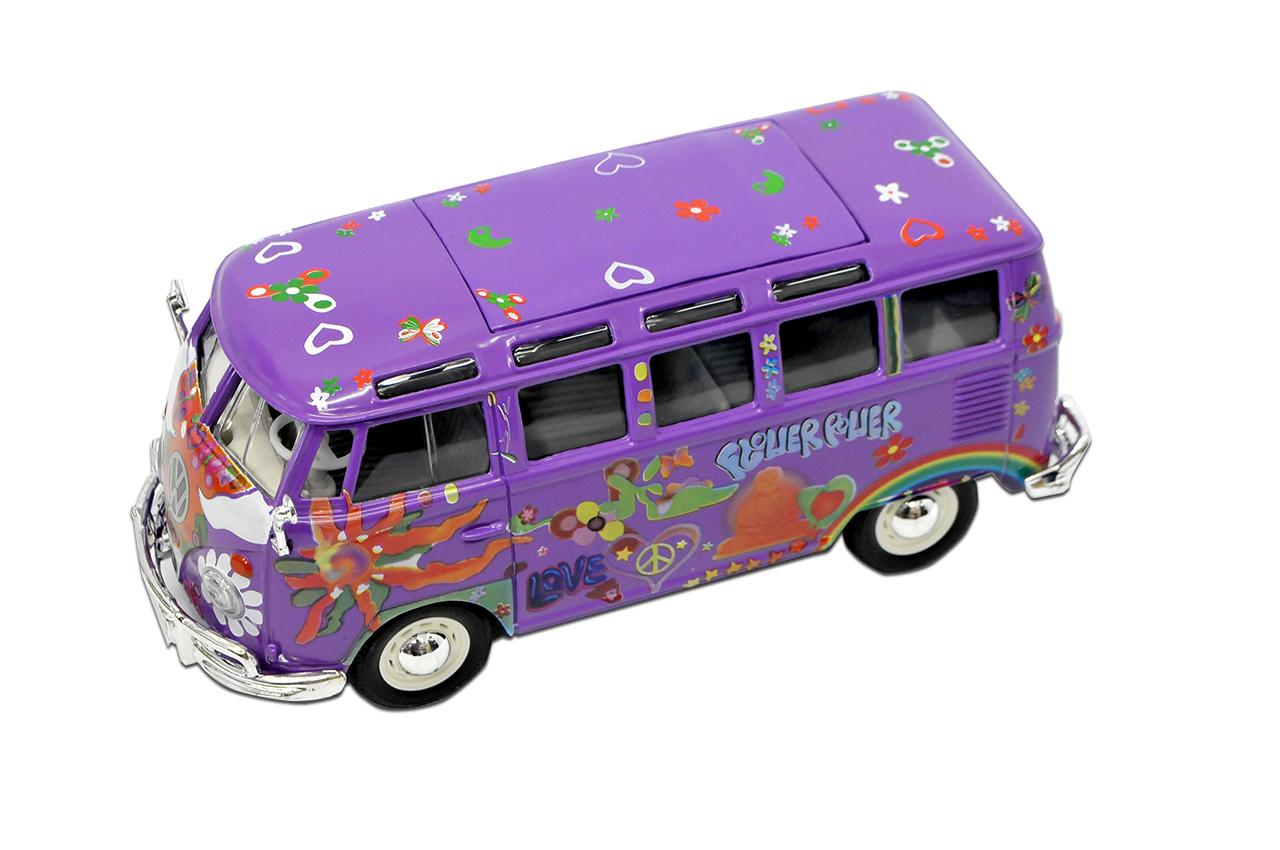 VW-T1-de-Volkswagen-hippie-purpura-flor-poder-bully-Samba-bus-1950-1967-1-25-1 miniatura 8