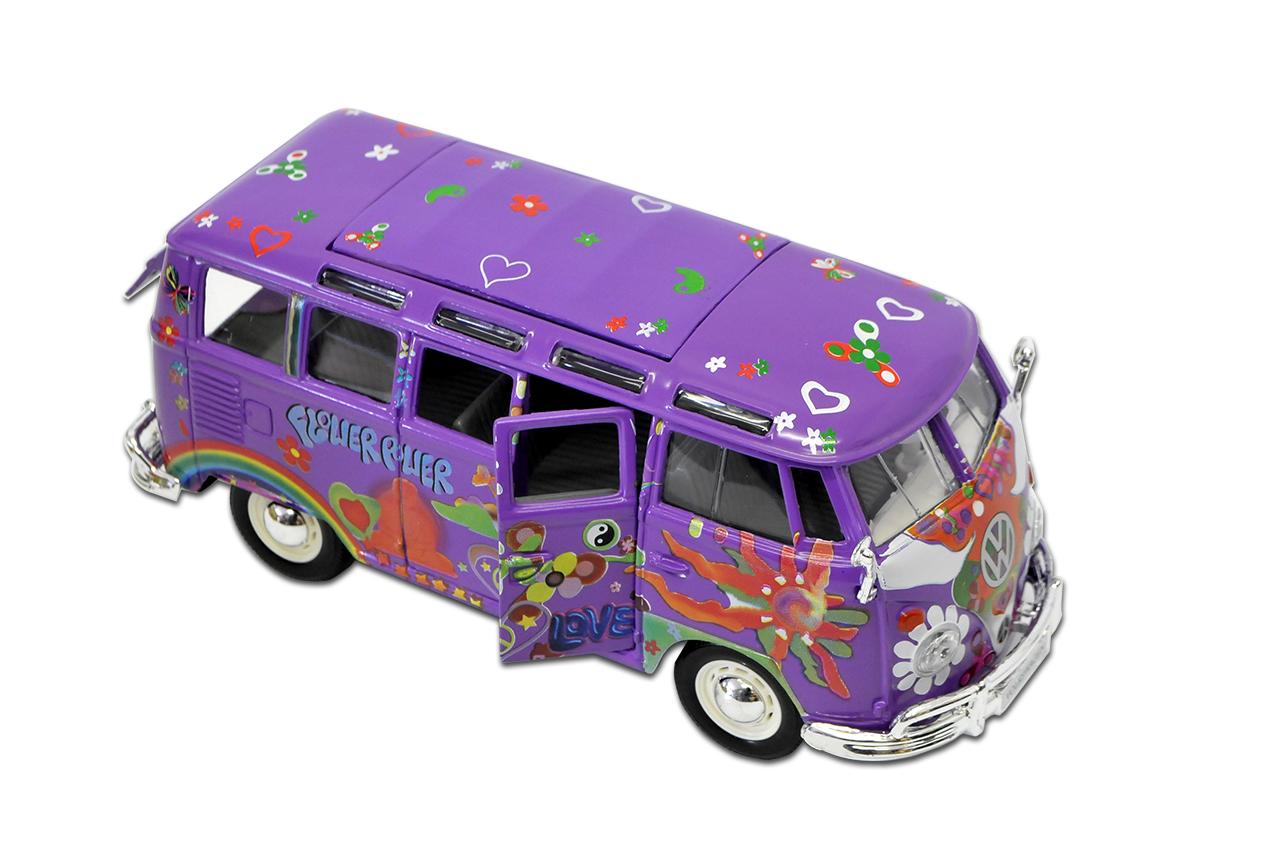VW-T1-de-Volkswagen-hippie-purpura-flor-poder-bully-Samba-bus-1950-1967-1-25-1 miniatura 9