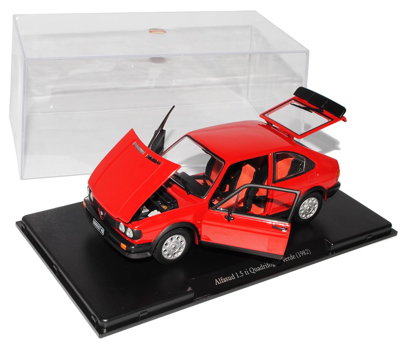 Alfa-Romeo-Alfasud-1-5-rojo-ti-Quadrifoglio-Verde-1982-con-pedestal-y-el-gabinete-1 miniatura 8