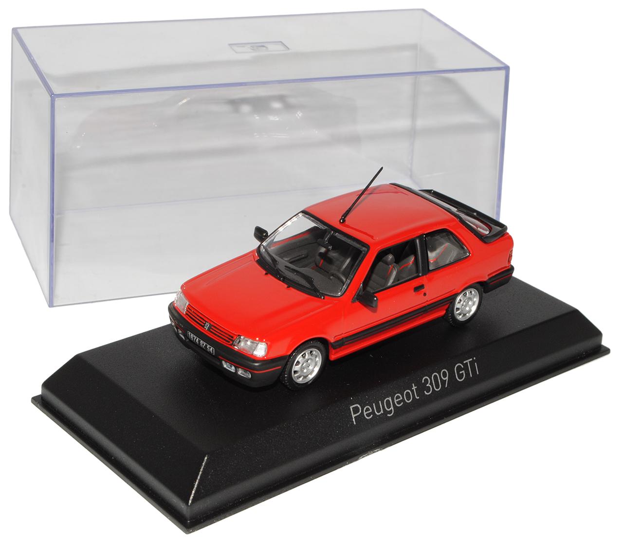 Peugeot 309 GTI red 3 Türer 1985-1993 1 1 1 43 Norev Modell Auto mit oder ohne ind.. d295e5