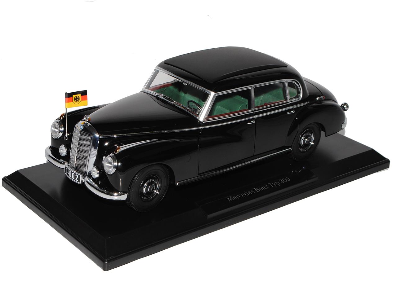 Mercedes-Benz 300 w186 noir noir noir avec drapeau allemand Adenauer Berline 1951-1... beedbb