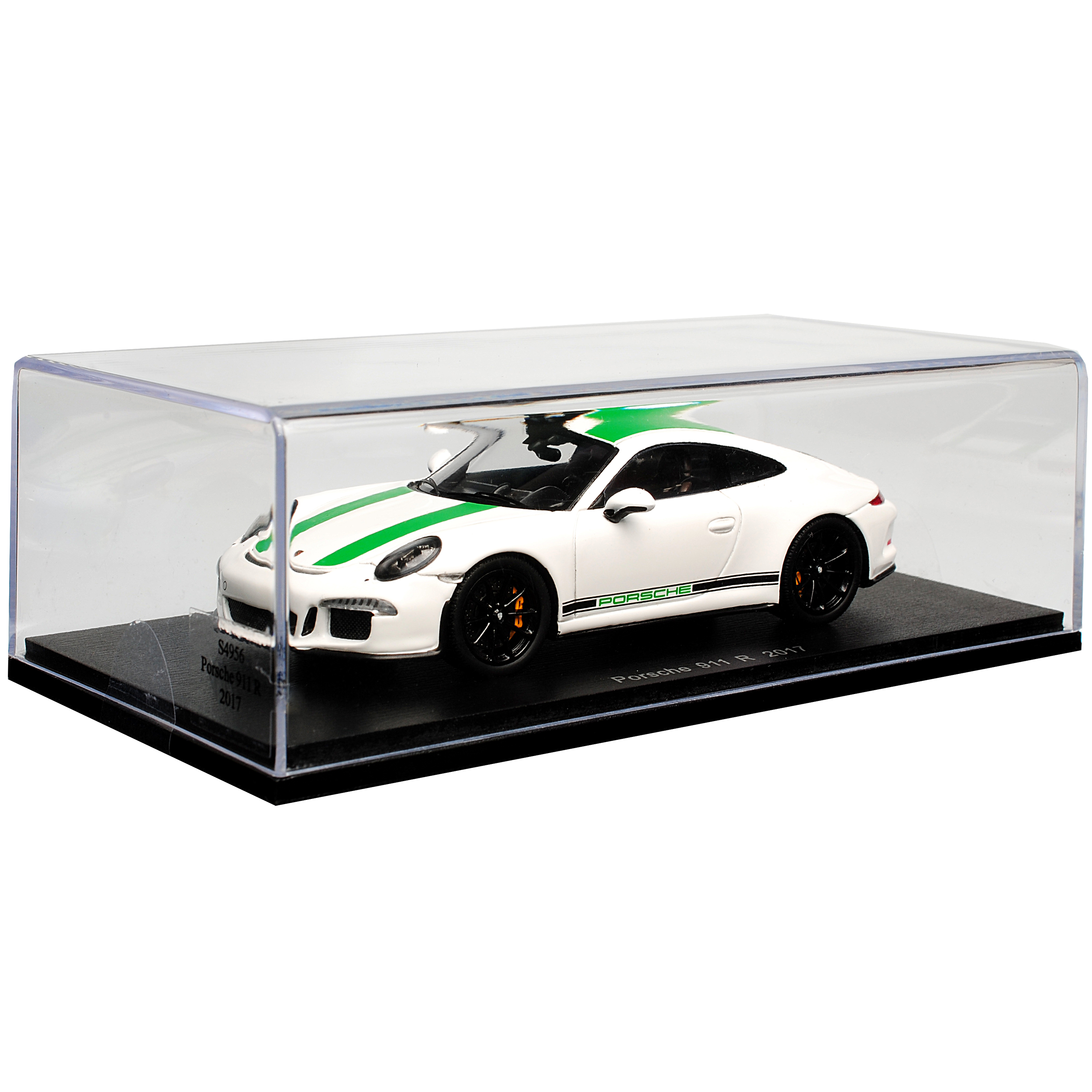 Porsche 911 991 R Coupe Weiss Weiss Weiss mit Gruen 2017 1 43 Spark Modell Auto mit oder o.. 03cd1d