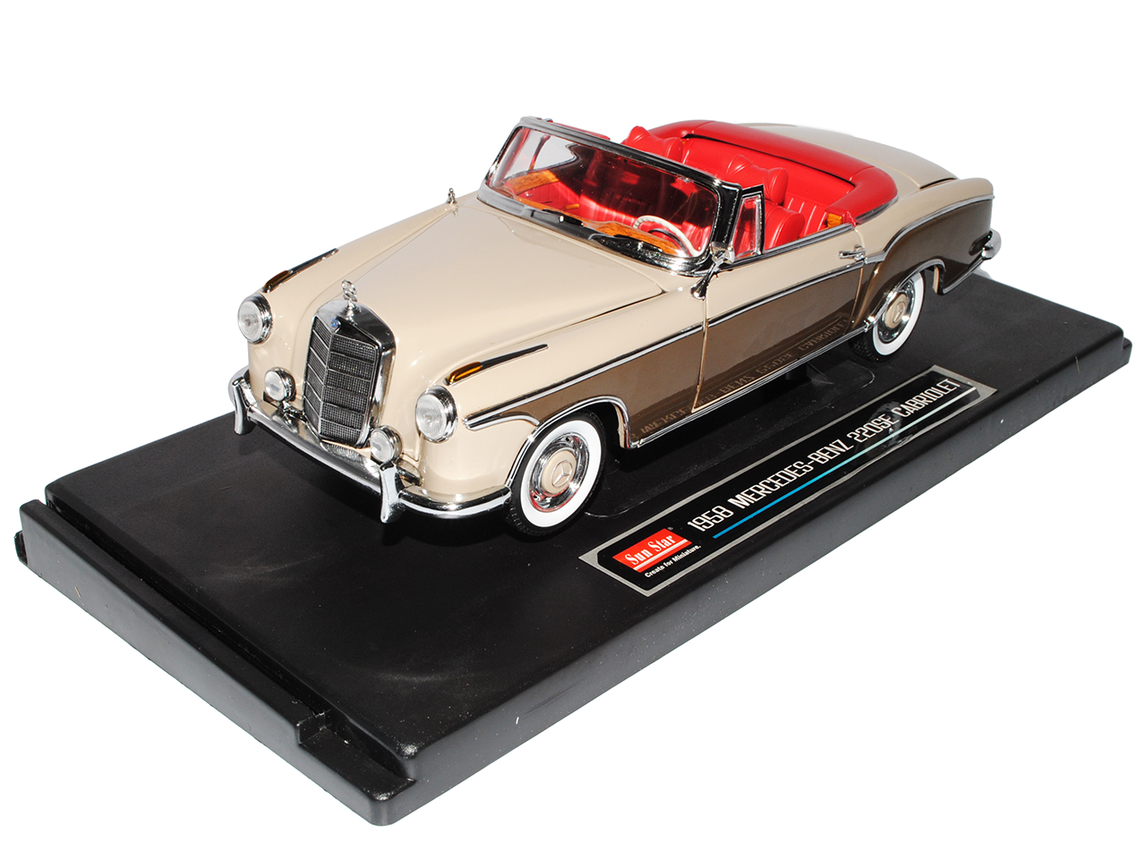 Mercedes-Benz 220se 220se 220se 1958 Cabrio BEIGE MARRON w128 1958-1960 1 18 SUN STAR Model... 21b46b