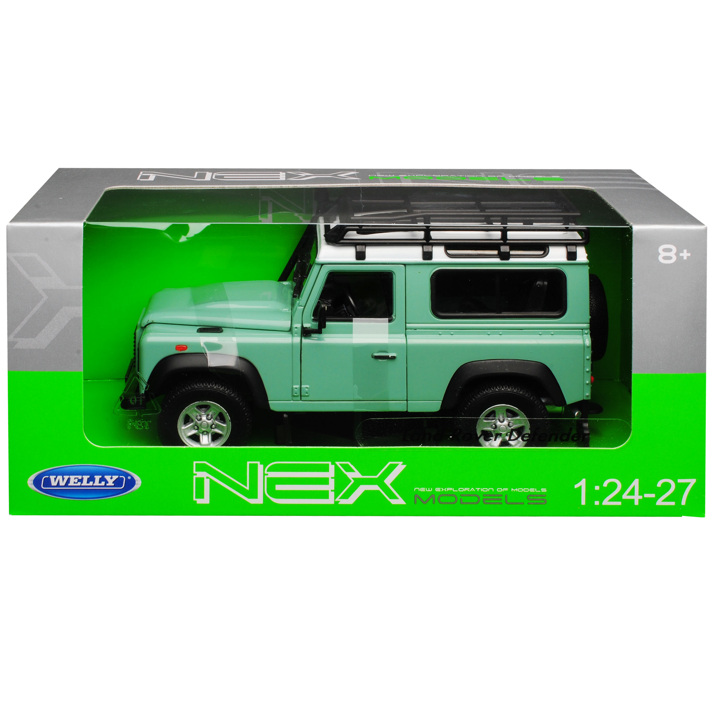 Land Rover Defender 90 Grün mit Weissem Dach 3 Türer 1//24 Welly Modell Auto mit
