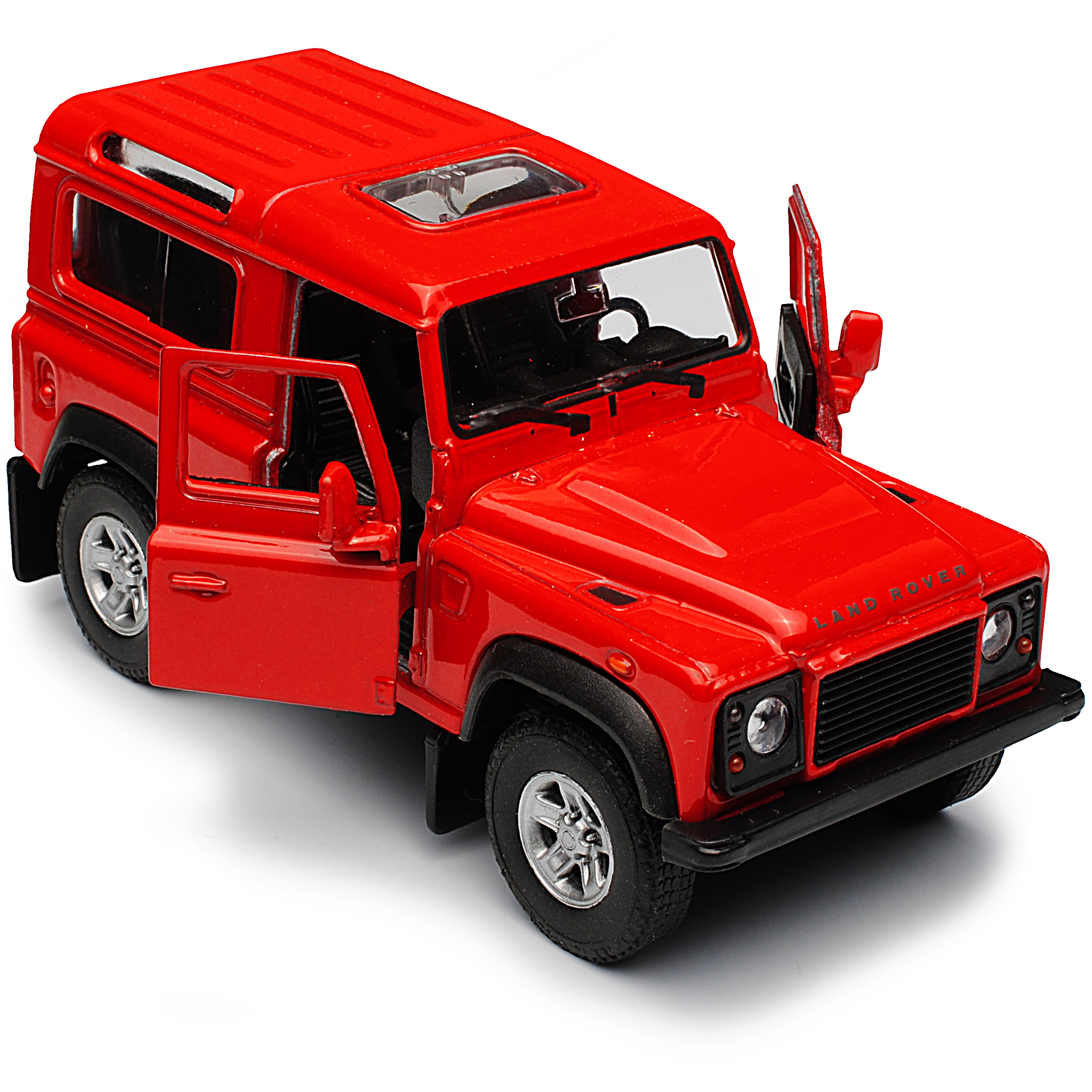 Land Rover Defender 90 Rot 3 Türer ca 1//43 1//36-1//46 Welly Modell Auto mit ode..