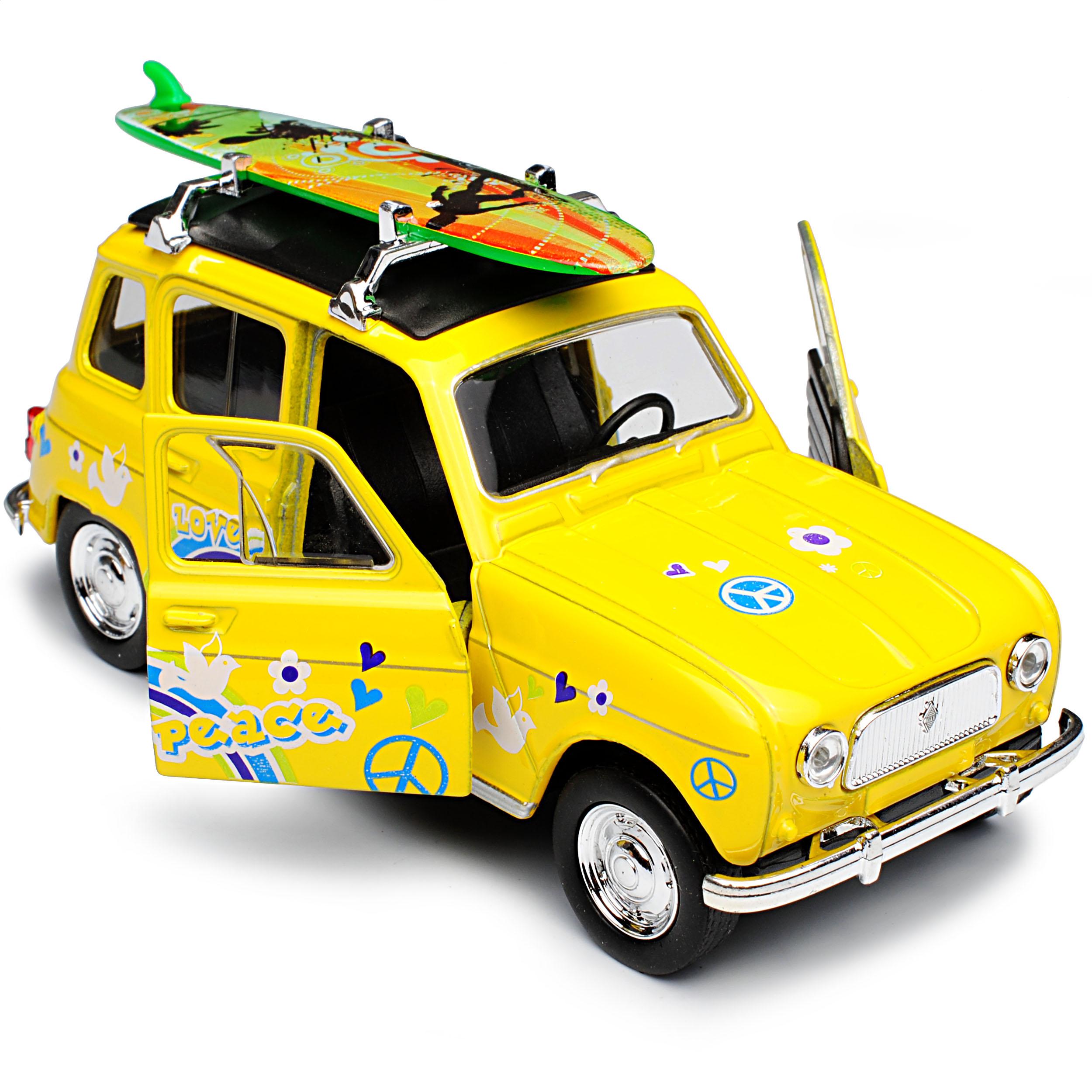 Renault R4 4L GTL 5 Clan Türer Gelb Mit Surfbrett Love And