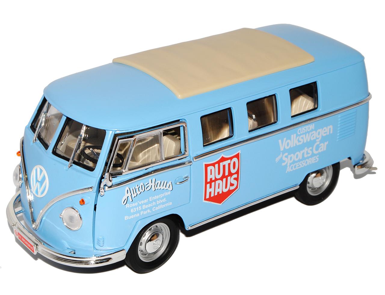 VW-Volkswagen-Bulli-T1-bus-1962-AutoHaus-auto-deportivo-azul-Yatming-1-18-modelo-A miniatura 6