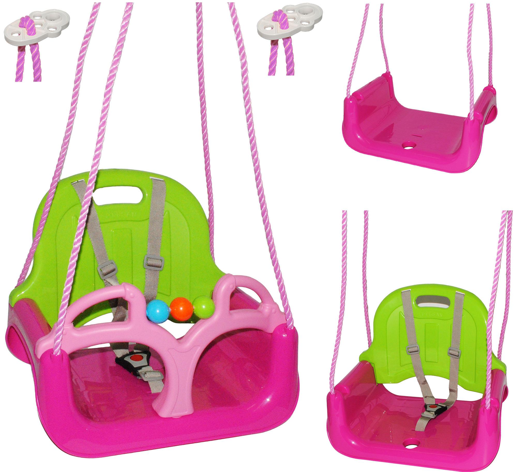 Babyschaukel-gitterschaukel-mitwachsend-amp-de-reequipar-con-cinturon-034-rosa-p miniatura 11