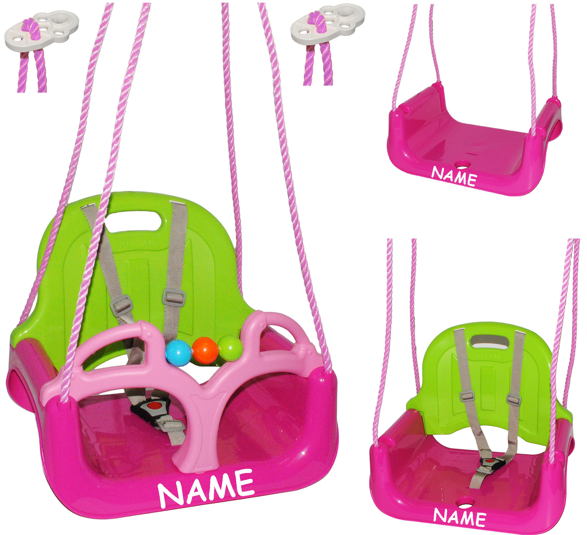 Babyschaukel-gitterschaukel-mitwachsend-amp-de-reequipar-con-cinturon-034-rosa-p miniatura 17